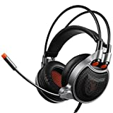 [2016 New Xbox Gaming Headphone]SADES sa929 7.1 Virtual Sound 3.5mm Professional Gaming Headset with Flexible Microphone for Pc/Mac/Xbox one/Phone/PS4/Table,USB conversion line(Black and Organe)
