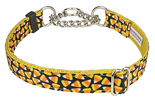 Country Brook Design Candy Corn Ribbon Half Check Dog Collar - Large