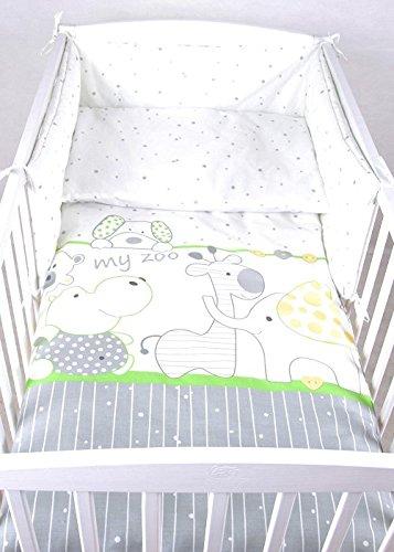 BABYLUX Bettwäsche Bezug 2 Tlg. 100 x 135 cm Kinderbettwäsche Bettwäsche Bettset Babybettwäsche MY ZOO (28. My Zoo Grün)