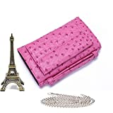 Clutch Phone Genuine Leather Bags Crocodile Shoulder Bags For Snake Ostrich Pattern Crossbody Bag,Ostrich Pink