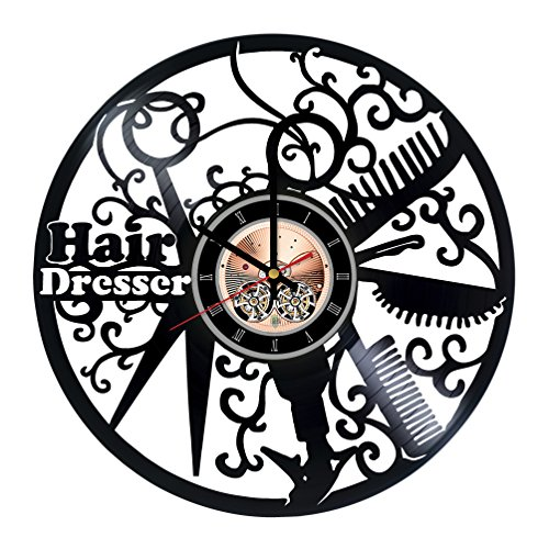 Hair Salon Vinyl Record Wall Clock – Home Room or Bathroom wall decor – Gift ideas for men and women, girls, mother – Beautiful Unique Art Design
