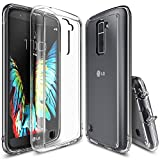 LG K10 Case, Ringke [FUSION] Crystal Clear PC Back TPU Bumper [Drop Protection/Shock Absorption Technology][Attached Dust Cap] Raised Bezels Protective Cover For LG K 10 - Clear