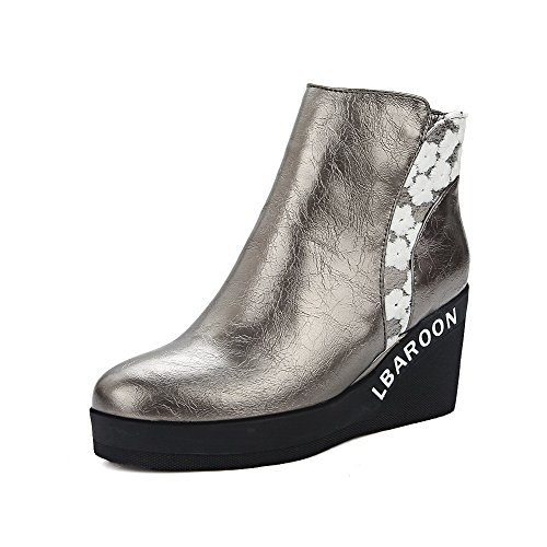 High Material Closed High Boots Heels Silver Soft Toe Women's Ankle Solid Allhqfashion Round zSwPq00I