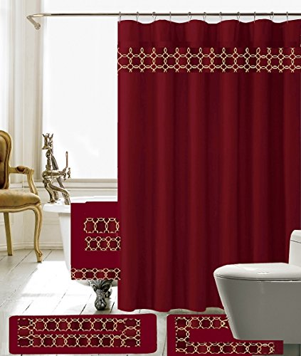 BH Home & Linen 18 Piece Embroidery Banded Shower Curtain Bath Set 1 Bath Mat 1 Contour 1 Shower Curtain 12 Matching Fabric Shower Rings 3 Pcs Matching Towel Set -