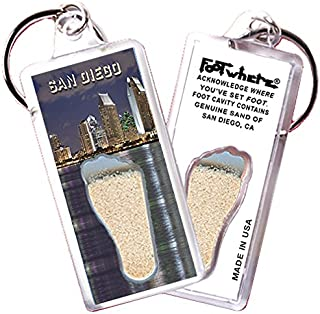 "product image for San Diego ""FootWhere"" Keychain (SD106 - PM Waterfront). Authentic Destination Souvenir acknowledging Where You've Set Foot. Genuine Soil of Featured Location encased Inside Foot Cavity. Made in USA."