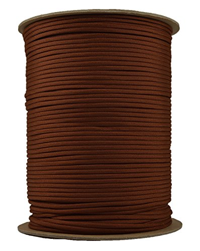 BoredParacord - 1', 10', 25', 50', 100' Hanks & 250', 1000' Spools of Parachute 550 Cord Type III 7 Strand Paracord Well Over 300 Colors - Chocolate Brown - 1000 Foot Spool