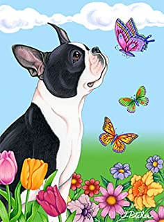 High Quality Boston Terrier   Best Of Breed Butterfly Garden Flag