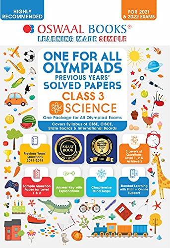 One for All Olympiad Previous Years Solved Papers, Class-3 Science Book (For 2021 Exam) Paperback – 29 April 2021