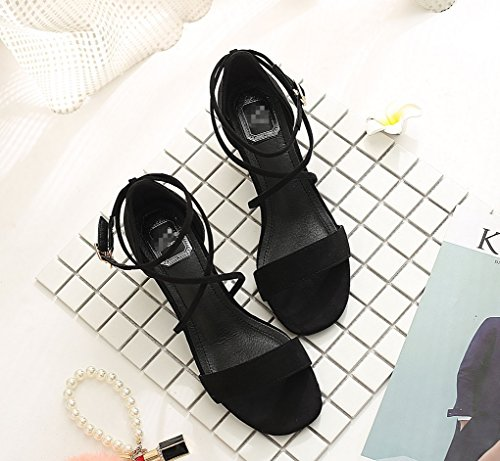 Party Heels Hochzeit Schuhe Square Comfort Series Formal Sexy Zhhzz Classic Metal Solid Sandalen Hohl Women's Schnalle Black 3cm Thick LIANGXIE n7xOfEE