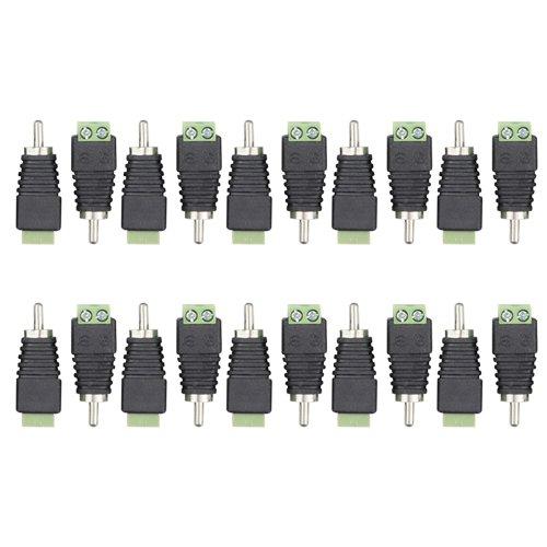WGCD 20 PCS Phono RCA Male Plug to AV Screw Terminal Plug Connector Audio Video Adapter ()