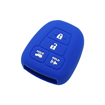 SEGADEN Silicone Cover Protector Case Skin Jacket fit for TOYOTA 4 Button Remote Key Fob CV2407 Deep Blue: Automotive