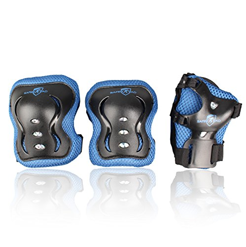 Knee Elbow and Wrist Pads for Kids Maximum Safety, 6 Pieces for Rollerblades and Skating Outdoors with Strap, Extreme Protection for 3-9 Year Old Children with Blue Ultra Protective Foam by SaferPad