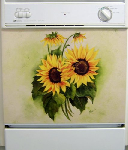 Sunflowers Dishwasher Art Painted Magnetic