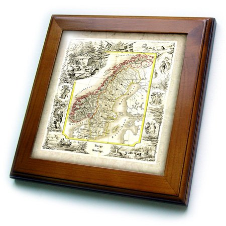 3dRose ft_56945_1 Old Norway and Sweden 1847 Map Framed Tile, 8 by 8-Inch
