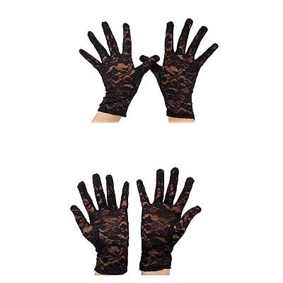 1pair Mujer de encaje hueco-hacia fuera Guantes cortos de verano boda guantes de protección solar resistencia al deslizamiento elegante del cordón (negro): Ropa y accesorios
