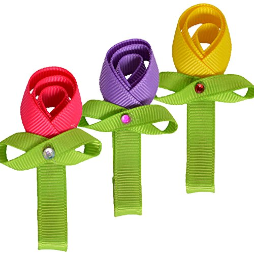 Tiny Flower Candy Boutique Bows Clips For Toddler Girls Fine Hair 12 Pairs LCLHB by LCLHB (Image #4)