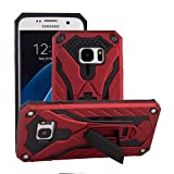 Galaxy S7 Edge Case,Funfe Heavy Duty Built-in Kickstand Protective Cases for Samsung Galaxy S7 Edge Dual Layers Armor Shock Absorption Impact Resistant Rugged Stand Back Cover (Red)