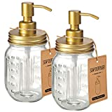 Mason Jar Liquid Soap Dospenser -Rustproof Stainless Steel Farmhouse Decor for Bathroom Vanities,Kitchen Sink/ Liquid Soap Pumps for Hand Soap,Dish Soap,Lotions/Golden -2 Pack
