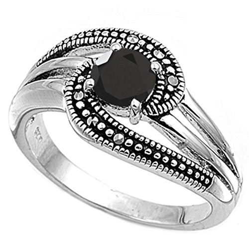 925 Sterling Silver Faceted Natural Genuine Black Onyx Round Ring Size 7 Genuine Round Black Onyx Ring