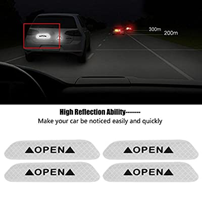 Cuque 4Pcs Self-Adhesive Car Door Reflective Warning Decal Safety Strip Stickers Sign Sticker Fluorescent Reflective Car Decals (Fluorescent White): Automotive
