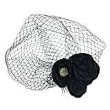 MonkeyJack Vintage Crystal Black Flower Birdcage Fascinator Bridal Face Veil Wedding Headpiece