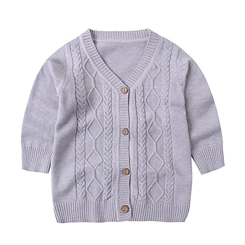 SMILING PINKER Baby Boys Girls Cardigans VNeck Solid Sweaters Cable Knitted Button Coats Outwear612 Months Grey