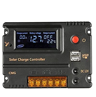 Anself 12V/24V Solar Charge Controller Panel Battery Regulator LCD Display Auto Switch