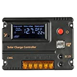 Anself 10A 12V/24V Solar Charge Controller Panel Battery Regulator LCD Display Auto Switch (10A)