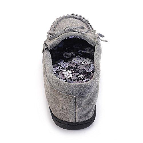 Genuina Del Gomma Tessuto Mucca Di Pantofole Donne Superiore Delle Con Scamosciata Gray In Mocassino Outsole Rivestito Gr Della E z1Tq7n