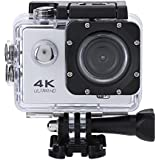 Acouto 2 Inch 4K 12MP Wifi sport Action Camera Uitra HD Waterproof DV Camcorder 140 Degree Wide Angle with Controller,Black/Yellow/Blue/White/Pink/Gold/Silver (Silver)