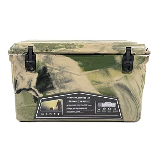 (Xspec Pro Roto-Molded 60 Quart High Performance Cooler Outdoor Ice Chest, Camoflage, Durable Stylish Rotomolded with Bottle Openers, Vacuum Release Valve, and Low Profile Snap Tight Latches)