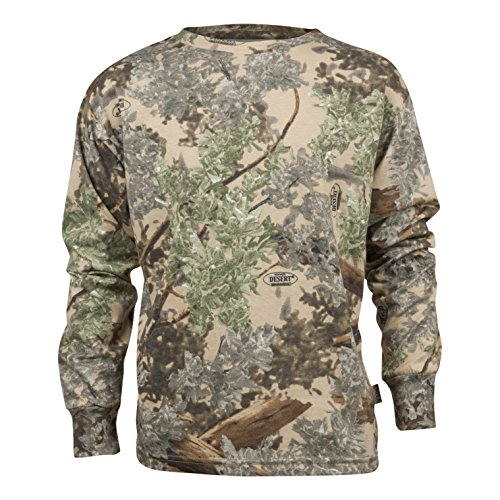 King's Camo Kids Camo Cotton Long Sleeve Hunting Tee, Desert Shadow, Large