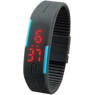 Sannysis Deportes de silicona reloj de pulsera digital LED, color gris