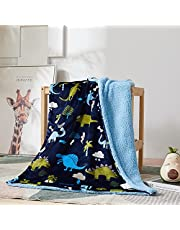 Marina Decoration Rich Printed Woven Fluffy Plush Soft Warm Flannel Fleece Sherpa Kids Children Blanket, 30 x 40 Inch Green Blue Color Dinosaur Zoo with Navy Blue Base Pattern
