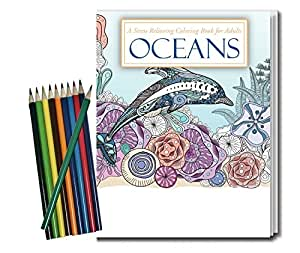 OCEANS - Adult Coloring Book and Pencils Set - Stress Relieving Ocean Designs