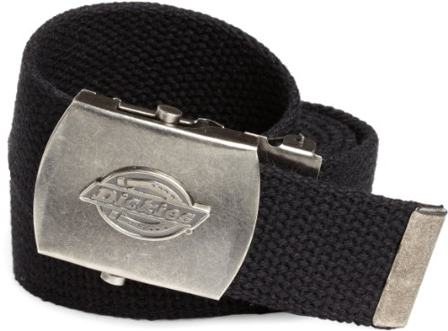 (Dickies Men's Dickie's 1 3/16 in. Cotton Web Belt With Military Logo Buckle,Black,One Size)