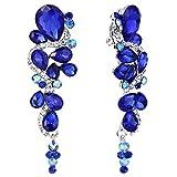 BriLove Women's Wedding Bridal Clip-On Dangle Earrings Bohemian Boho Crystal Multiple Teardrop Chandelier Earrings Royal Blue Sapphire Color Silver-Tone