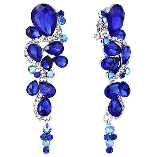 (BriLove Wedding Bridal Clip On Earrings for Women Bohemian Boho Crystal Multiple Teardrop Chandelier Dangle Earrings Royal Blue Sapphire Color Silver-Tone)