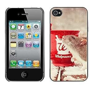 YiPhone /// Prima de resorte delgada de la cubierta del caso de Shell Armor - Cute Funny Pet Rat & Coffee - Apple iPhone 4 / 4S