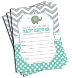 50 Elephant Invitations - Mint (5x7)