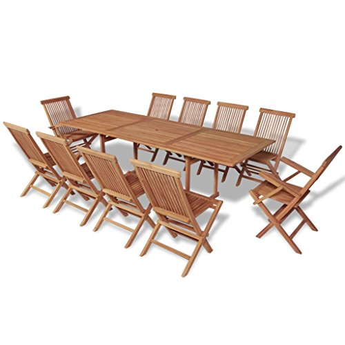 Table Dining Teak Set (Festnight 11 Piece Patio Outdoor Wood Dining Table Set Teak)