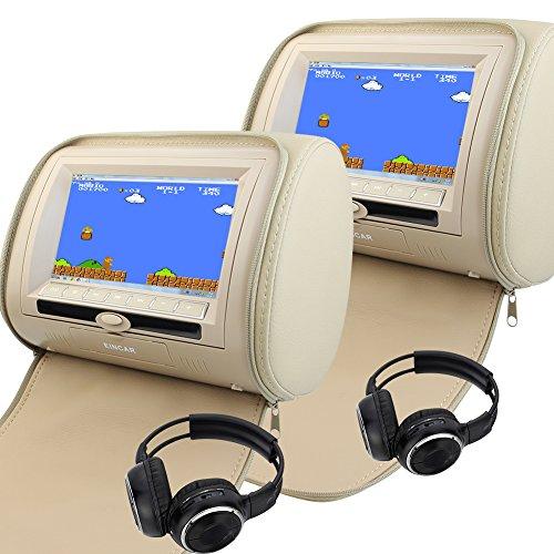 Pair 7' Headrest (Pair of Headrest 7'' LCD Car Pillow Monitor DVD Player Dual Twin Screens USB SD IR FM Transmitter 32 Bit Games Zipper Cover with 2 IR Headsets)
