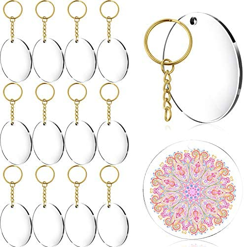 Details about  /Acrylic Keychain Blanks 12//24Pcs Round Clear Circle Discs with Tassel Pendants