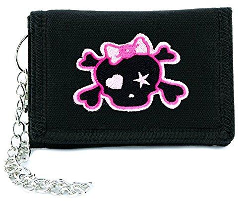 (Pink Punk Rock Skull Rockabilly Tri-fold Wallet Alternative Clothing Crossbones)
