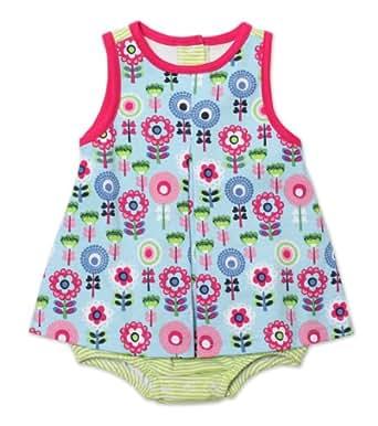 Zutano Baby-girls Infant Dizzy Daisy A-Line Jumper, Bluebird, 12 Months