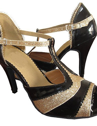 ShangYi Customized Women's Sandals Latin Salsa Dance Shoes black and gold 49BmnY7Xb