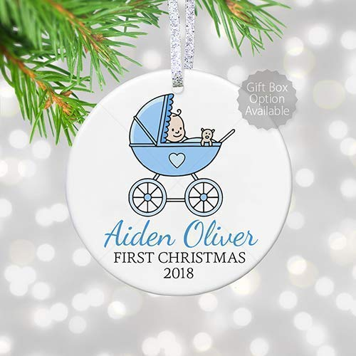 Baby's Boy First Christmas Blue Baby Carriage Ornament, Personalized 1st Christmas Ornament for Baby Boy in Pram - 3