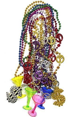 10Pcs Mardi Gras Beads Bulk Beaded Necklace with 4 x Shot Glass, 4 x Peace Symbol, 2 x Dollar Shape Charms,33 inch (Mardi Gras Party Shot Glass)