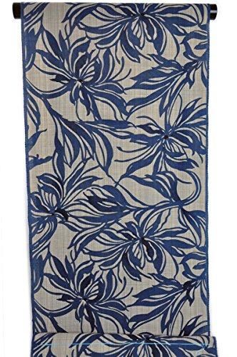 モールス信号解体する竺仙 反物浴衣 奥州小紋 生成地に青色 大胆で抽象的な 乱菊