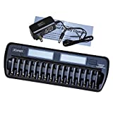 3Csmart 16-Bay/Slot Auto-detect AA/AAA NIMH/NICD Rechargeable Batteries LCD Intelligent Battery Charger
